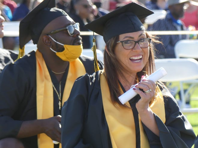 Graduate Carmen Cleary celebrates during the 3rd annual Victor Valley Adult Education Regional Consortium Commencement Ceremony held Friday, June 4, 2021, at Victor Valley College in Victorville.