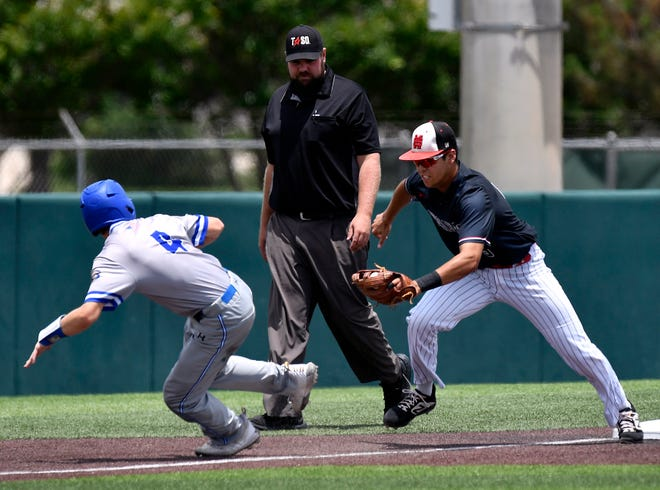 Brock runner Eli Potts is caught between third and home as Shallowater third baseman Huston Briseno runs him down during Game 3 of the Region I-3A final at Abilene Christian University on Saturday.