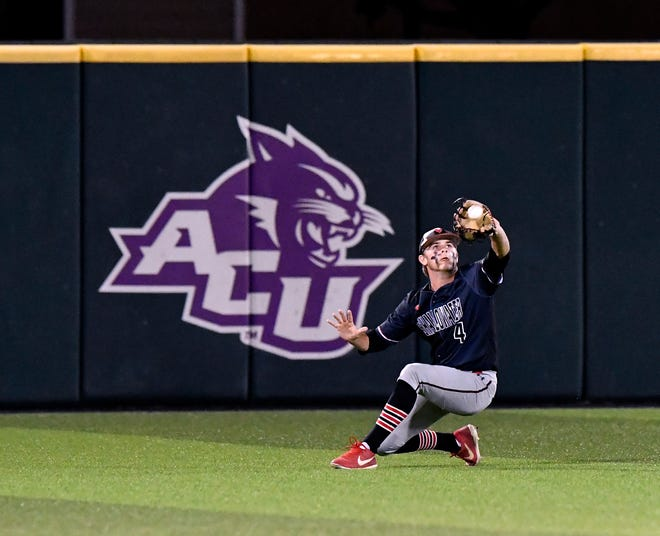 Shallowater outfielder Bax Townsend catches a fly ball during Game 2 of the Region I-3A final against Brock at Abilene Christian University Friday.