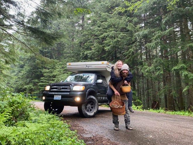 Christian Liden and Desirae Klokkevold on a mushroom hunting trip where Liden proposed.