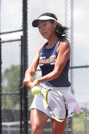 Harrison's Emma Gu returns the ball during an IHSAA girls tennis regional championship singles match, Saturday, June 5, 2021 in Kokomo.
