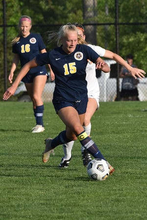 Justina L'Esperance (15) was one of three two-goal scorers for Hartland in an 8-0 victory over Flushing in a district championship soccer game Friday, June 4, 2021.