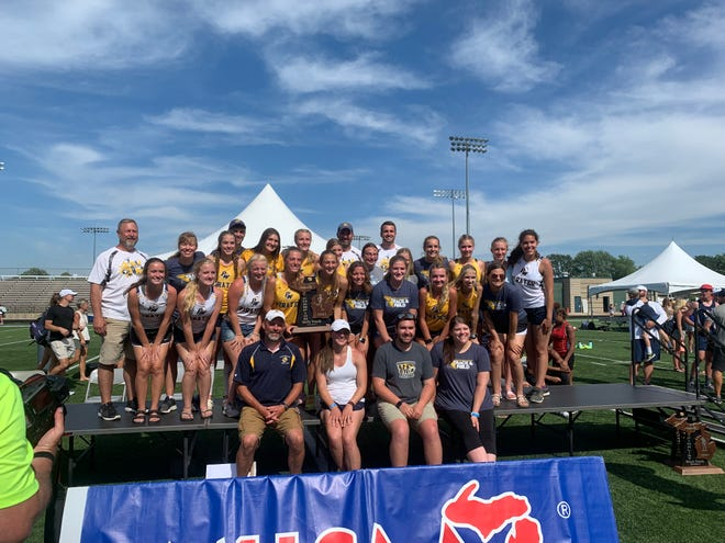 The Pewamo-Westphalia girls track team won a share of the Division 3 state championship.