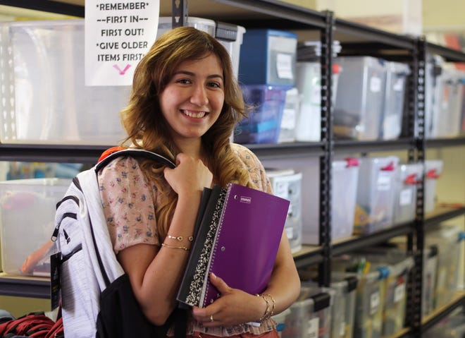 Arlette Botello, pictured at Valley View Elementary on June 3, 2021, found out about Project Link Homeless Education Program through a teacher. Thanks to their assistance, she has received economic support and will be attending Doña Ana Community College in August.