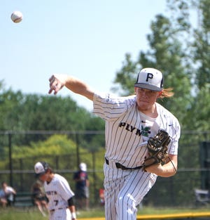 Plymouth Wildcat Kane Elmy pitches against the Canton Chiefs.