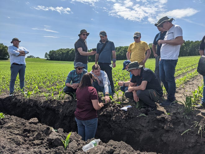 Jodi DeJong-Hughes, regional extension educator with the University of Minnesota Extension, shows variations in soil at Spring Water Acres farm near Melrose to a group of Ukrainian farmers and scientists touring the upper Midwest on Thursday, June 3, 2021.