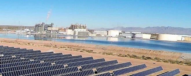 El Paso Electric's Newman power plant and adjacent solar power plant in far Northeast El Paso.