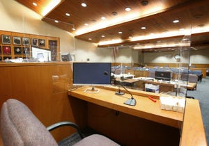 STAR FILE PHOTO Plexiglass as seen in June 2021, is used in a Ventura County Superior Court room to isolate people testifying during the COVID-19 pandemic.