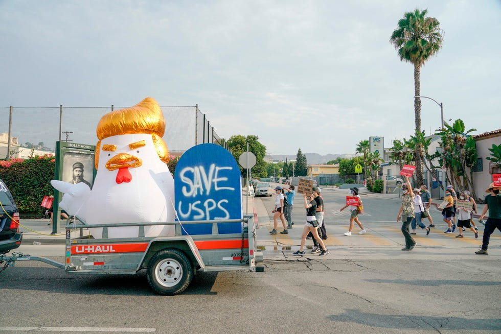 Save the Post Office demonstration in Los Angeles on Aug. 20, 2022.
