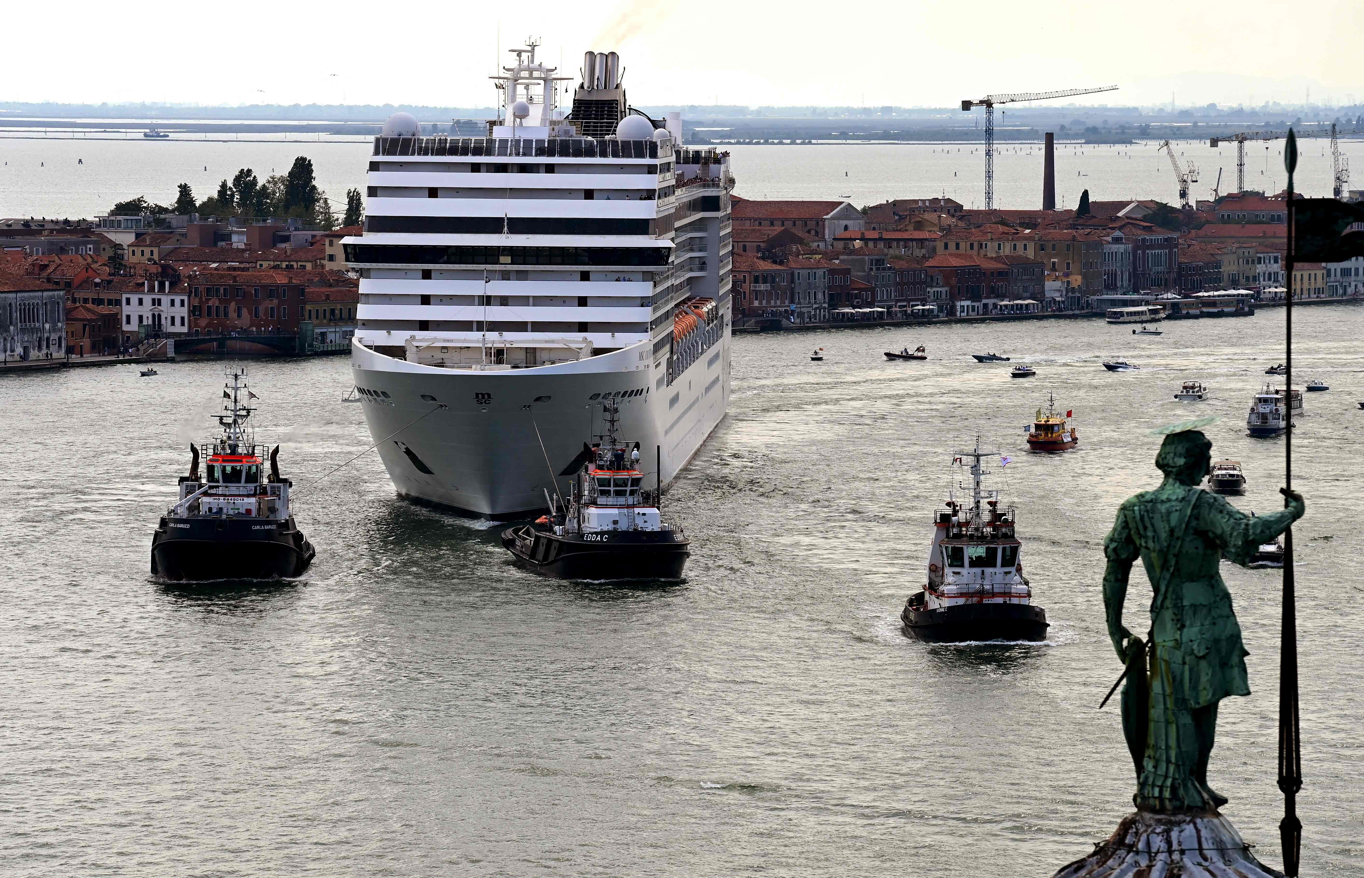 First cruise ship leaves Venice, Italy since COVID-19 shutdown amid protests