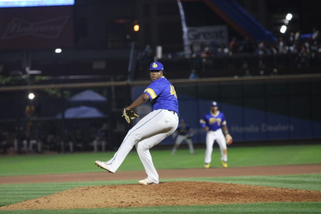 A more consistent delivery is resulting in more success this season for RubberDucks reliever Juan Mota. [Photo courtesy of Akron RubberDucks]