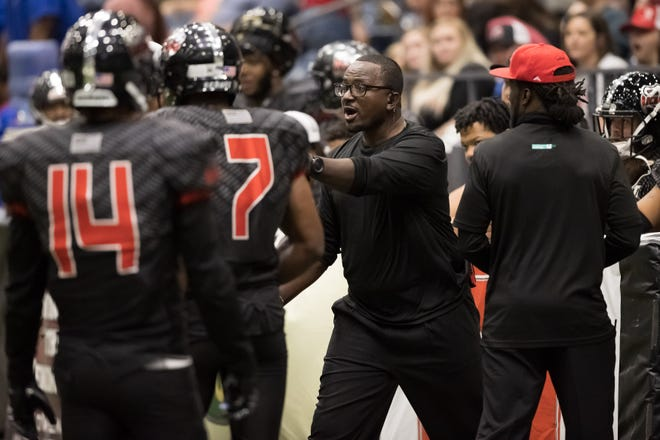 Amarillo Venom's head coach Julian Reese reacts to a call at their season opener on June, 5 2021 at the Civic Center in Amarillo, TX.