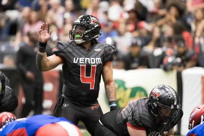 Amarillo Venom's quarterback David Perkins, motions to his receiver at their season opener on June, 5 2021 at the Civic Center in Amarillo, TX.
