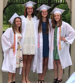 Marlington High School students Lilyan Ronske, Allison Lacher, Ashley Tarter and Evelyn Bullock attended the May 27 Baccalaureate Ceremony at First Christian Church on Beech Street.