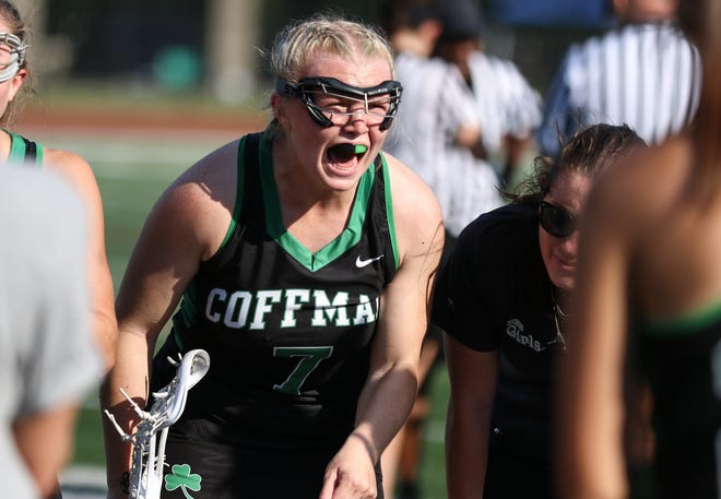 Dublin Coffman's Abigail Elliot screams during a huddle late in the state championship game on Saturday. The Shamrocks won the title after an unlikely run that included victories over defending state champ Upper Arlington and runner-up New Albany.