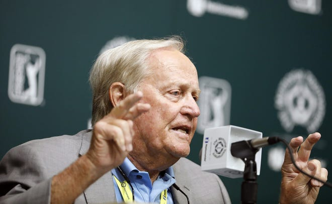 Jack Nicklaus speaks to the media on Tuesday afternoon before the 2021 Memorial Tournament at Muirfield Village Golf Club on June 1, 2021.