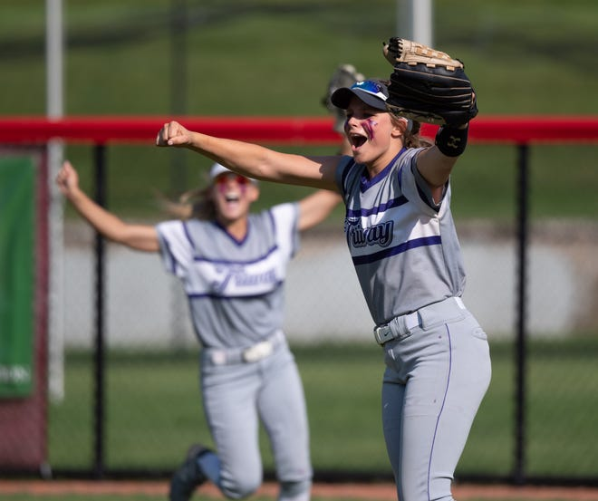 Triway's Emma Flinner celebrates after catching the final out as the Titans beat Lakewood 4-3 to advance to Sunday's state title game.