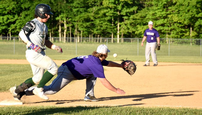 West Canada Valley Indian Aidan Maxwell stretches for a throw while playing first base during a May 24 game against Westmoreland. Maxwell and the unbeaten Indians are the No. 1 seed for their split Class C sectional playoff bracket.