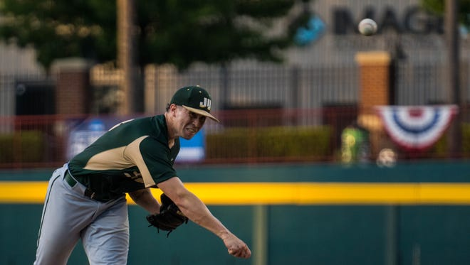 Tyler Santana of Jacksonville University delivers a pitch during Friday's NCAA tournament game against Old Dominion.