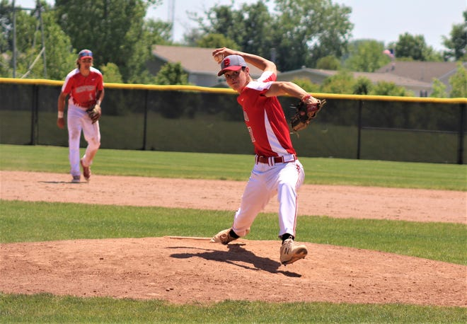 Bedford's Brandon Nigh, shown pitching against Monroe Saturday in the Division 1 District Tournament at Woodhaven, has been selected to play in the Michigan High School Baseball Coaches Association All-Star Game.
