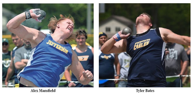 Alex Mansfield of Jefferson's and Erie Mason's Tyler Bates both captured state titles in the shot-put Saturday.