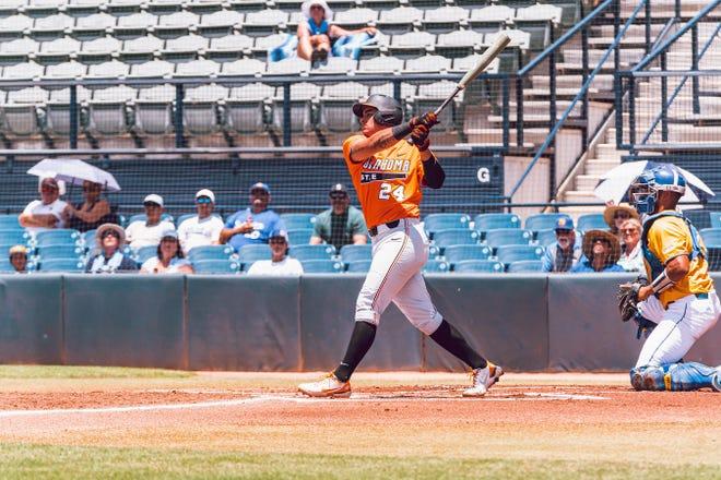 Oklahoma State's Christian Encarnacion-Strand bats against UC Santa Barbara on Sunday in an elimination game during the NCAA Tournament regional at Tucson, Arizona.