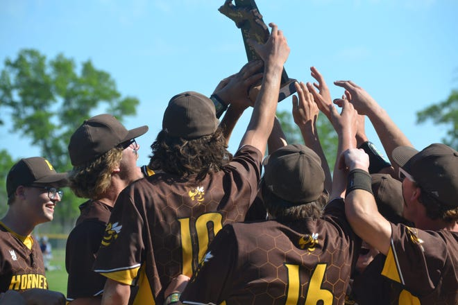 Pellston baseball players are handed off the district championship photo and celebration ensues Saturday after beating Inland Lakes.