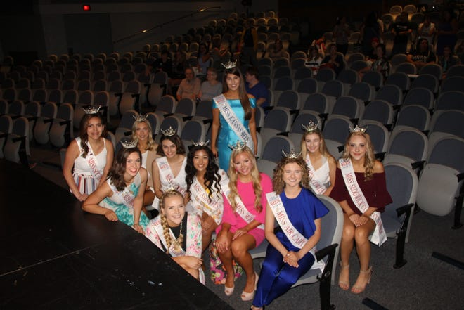 Miss Kansas Outstanding Teen contestants from 2019 gather in the Carpenter Auditorium where the 2021 contest will again be held, this Saturday, June 12 at Pratt Community College. The Miss Kansas Competition will take place next month, July 8, 9 and 10, in the Dennis Lesh Arena at PCC.