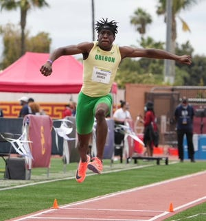 Oregon's Emmanuel Ihemeje is the No. 1 seed in the men's triple jump in the NCAA Outdoor Track & Field Championship meet at Hayward Field this week.