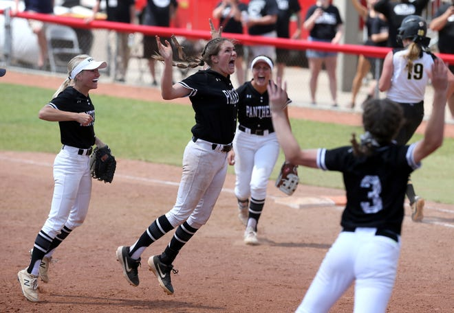 Missy Holzopfel of Perry, center, celebrates with her teammates after making the final out in their 1-0 victory over Watkins Memorial in the Divison I state championship game at Akron on Sunday, June 6, 2021. Also visible (from left) are Hunter Wheeler, Kailee Wilson and Marlee Pireu. Madison Jellison, 19, of Watkins Memorial was the final batter of the game.