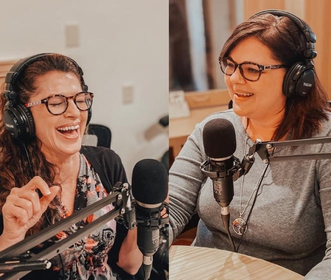 """Dr. Franne Sippel (left) and Becky Kuch co-star in a new podcast """"Shrink Rap"""" recorded in the Pheasant Canteen Podcast Studio. With the duo, is studio owner and cohost Brodie Mueller (not pictured)."""