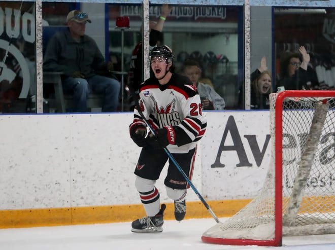 Aberdeen Wings winger Kyle Gaffney celebrates his goal against the Bismarck Bobcats for the 3-1 lead during the second period in Saturday's Game Two in the Central Division Finals. American News photo by Jenna Ortiz, taken 06/05/2021.