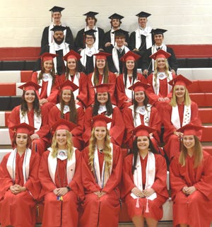 Members of the Meyersdale Area High School Class of 2021 gathered for the annual student-sponsored Baccalaureate Program on June 3 at the high school auditorium. Those in attendance included from left, front row:  Kaylee Karlie, Alexandra Hetz, Abigail Shuck, Alexandria Gaschler and KeriAnn Beard. Second row: Lakyn Lear, Tara Knopsnyder, Alix Tipton, Olivia Miller and Lauren Kretchman. Third row: Jaden Blough, Kendal Sigler, Hannah Yoder, Paige Gnagey and Karlee Witherite. Fourth row: Jalen Stephens, Dawson Rough, Gabriel Kretchman and Brycen Sechler. Back row: Joshua Kretchman, Samuel Hughes, Nathan Smith and Brennan Campbell.