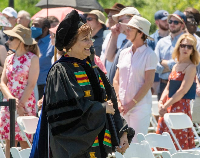 Dr. Matilda Castiel leads the procession of graduates to start the UMass Medical School commencement held at Worcester State University Sunday. Dr. Castiel is a UMass faculty member and is the Commissioner of Heath & Human Services for the city of Worcester.