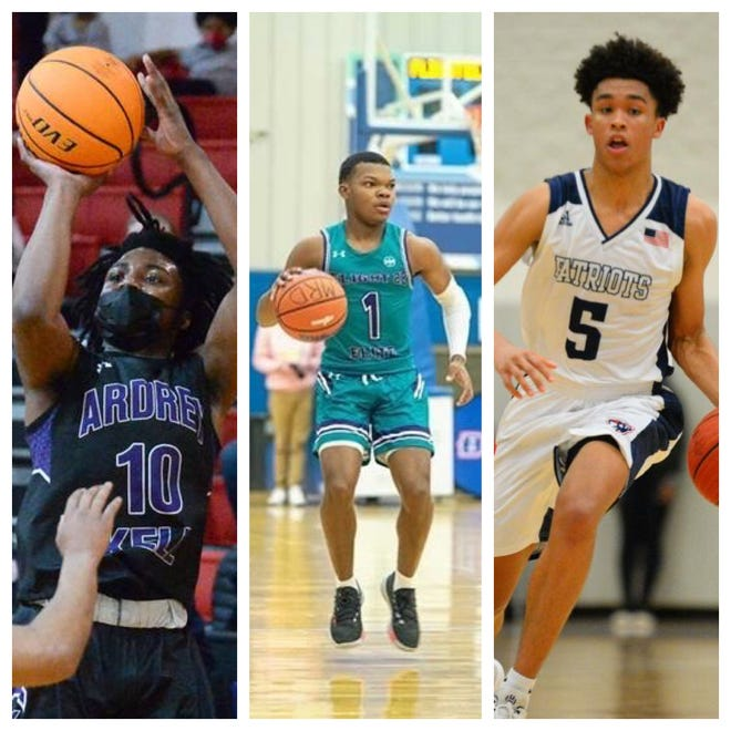 From left, North Carolina high school basketball seniors Knoah Carver of Ardrey Kell , E.J. McArthur of Jack Britt and Kenny Noland of Apex Friendship all opted to reclassify and take post-graduate years after COVID-19 affected their recruiting cycles. (Jeff Siner/Charlotte Observer; Sensei Hoops; Beth Jewell/HighSchoolOT)