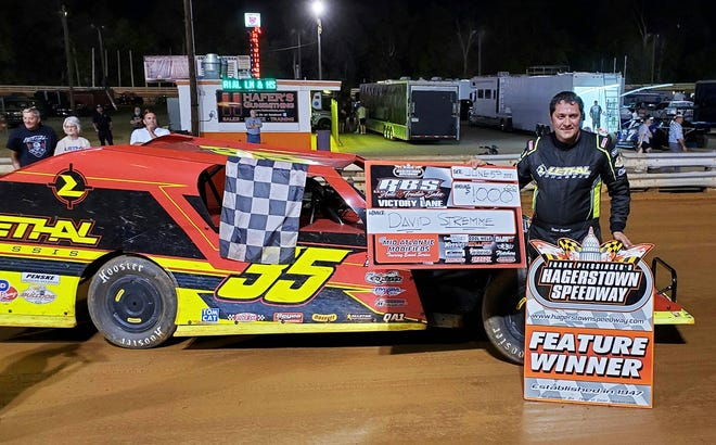 Former NASCAR driver David Stremme led flag to flag in the Mid Atlantic Modified Feature at Hagerstown Speedway on Saturday night.