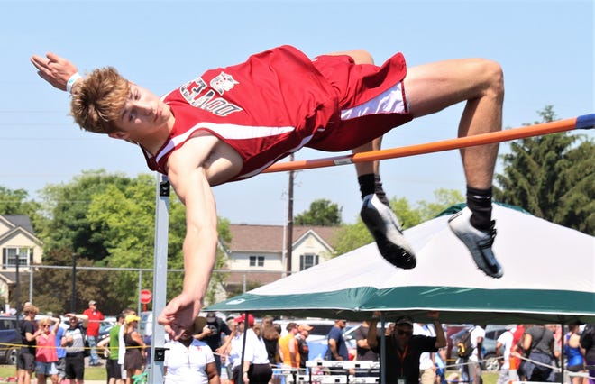 Dover's Joey Farthing shows his winning form as he claimed the Division I state boys high jump championship.