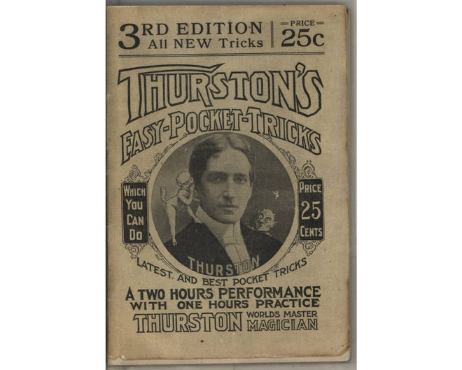 """Columbus native Howard Thurston was billed as """"the Greatest Magician in the World"""" in the early 1900s. More popular than his contemporary, Harry Houdini, Thurston toured Europe, Asia and Australia, as well as the United States. Each year, Thurston returned to Columbus for a week of shows. He was an expert at card tricks and became known as an illusionist after developing a floating-lady act known as the """"Levitation of Princess Karnac."""" Thurston died April 13, 1936, at age 66, and his body is entombed at Green Lawn Abbey."""