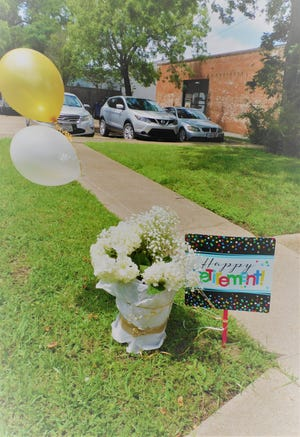 Dr/ Thacker's surprise retirement party route is ready for his entrance outside of his office Thursday, May 27.