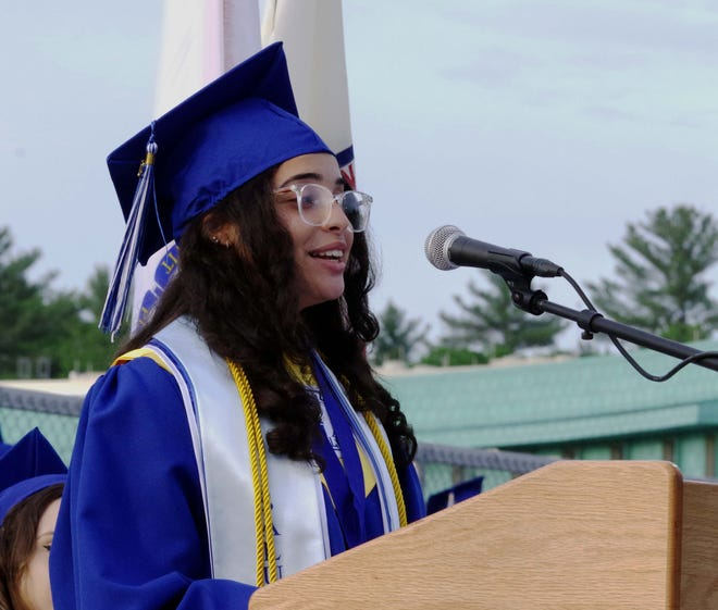 Ilianis Luciano, Holbrook Middle-High School Class of 2021 salutatorian, presents her essay to the audience during the Holbrook High School Graduation. Friday, June 4.