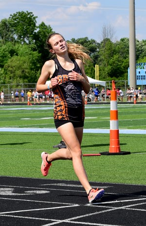 Olivia Gang of Green was the state runner-up in the 3,200-meter run at the 2021 OHSAA State Track and Field Championships in Columbus, Ohio, June 5, 2021.