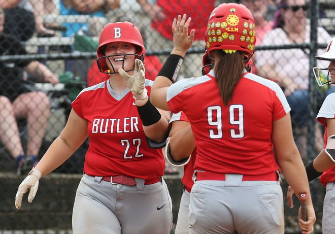 Butler's Emily Williams is congratulated after hitting a home run during the Sixth Region Softball Semifinals.  Butler defeated PRP 16-2