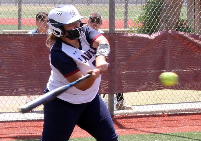 Junior Lady 'Cat Nayeli Trujillo ripped a Mayfield offering over the fence in left-center for a solo home run against Mayfield on Saturday to break open a 1-all in the bottom of the sixth inning. Trujillo and the Lady 'Cats would go on to defeat the Trojans 4-1.