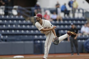 FSU pitcher Conor Grady allowed four runs over 6.1 innings in Sunday's Oxford Regional matchup against Southern Miss on June 6, 2021.
