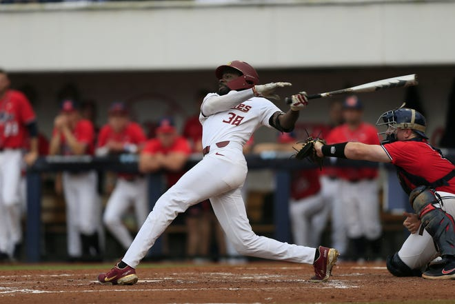 FSU outfielder Isaiah Perry hit his first career home run in the Seminoles' game against No. 12 seed Ole Miss in the Oxford Regional on June 5, 2021.