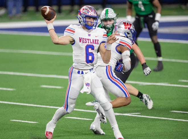 Westlake quarterback Cade Klubnik drops back to pass in the Chaps' 52-34 win over Southlake Carroll in last season's Class 6A Division I title game. Klubnik, a Clemson commit, threw for3,495 yards and 35 touchdownson 67.7% passingin 2020andshowed his elite speedwhile running for 583 yards and another 15touchdowns.
