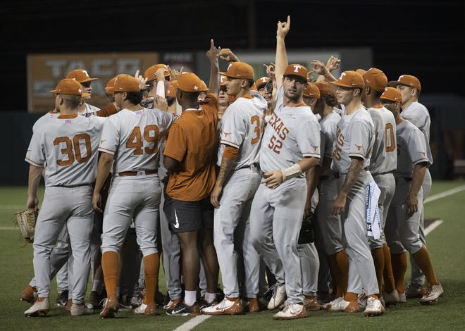 Texas players celebrate beating Fairfield in Sunday's Austin Regional final at UFCU Disch-Falk Field. The Longhorns are two super regional wins away from advancing to the College World Series for a record 37th time.