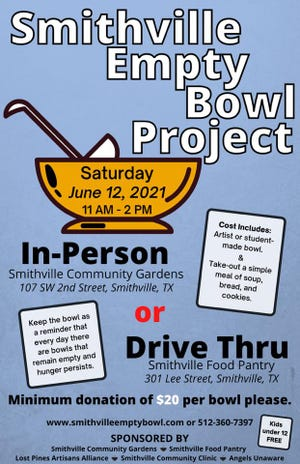 The 2021 edition of the Smithville Empty Bowl Project will take place Saturday from 11 a.m. to 2 p.m. This year's event will feature both an in-person and drive-thru option for people to receive their soup, bread, cookies and hand-crafted bowls and platters.