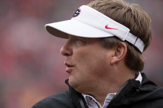 Georgia coach Kirby Smart looks on during the first half of the NCAA football spring G-Day game at the University of Georgia in Athens, Ga., on Saturday, April 20, 2019. [Photo/ Jenn Finch, The Athens Banner-Herald]