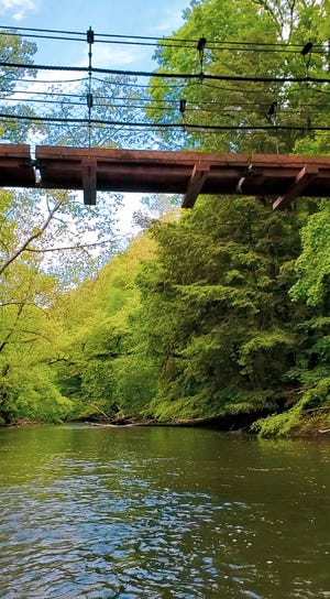 The view from my canoe — floating beneath the new cable bridge on Clear Fork of the Mohican River.